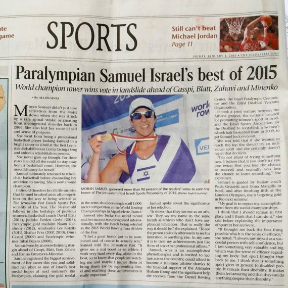 Paralympian Samuel with gold medal, article in the Jerusalem Post