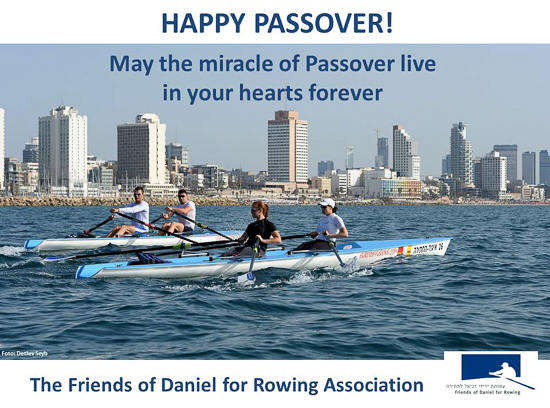 2 pairs in coastal rowing boats and Passover greetings